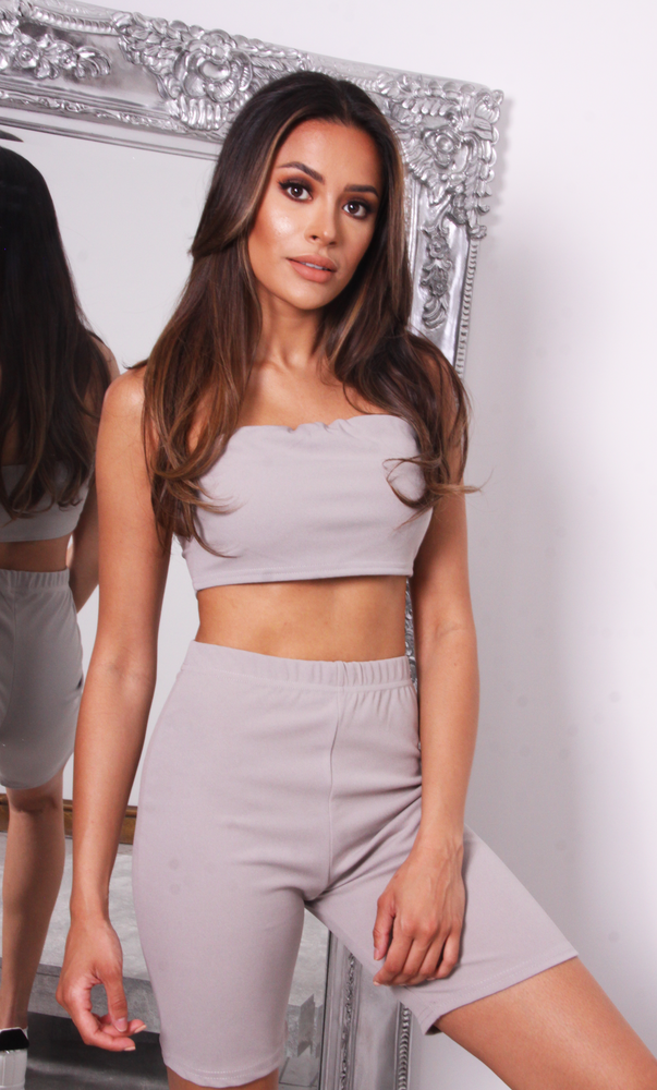 Leah Grey Bandeau Crop Top & Cycling Shorts Co-ord