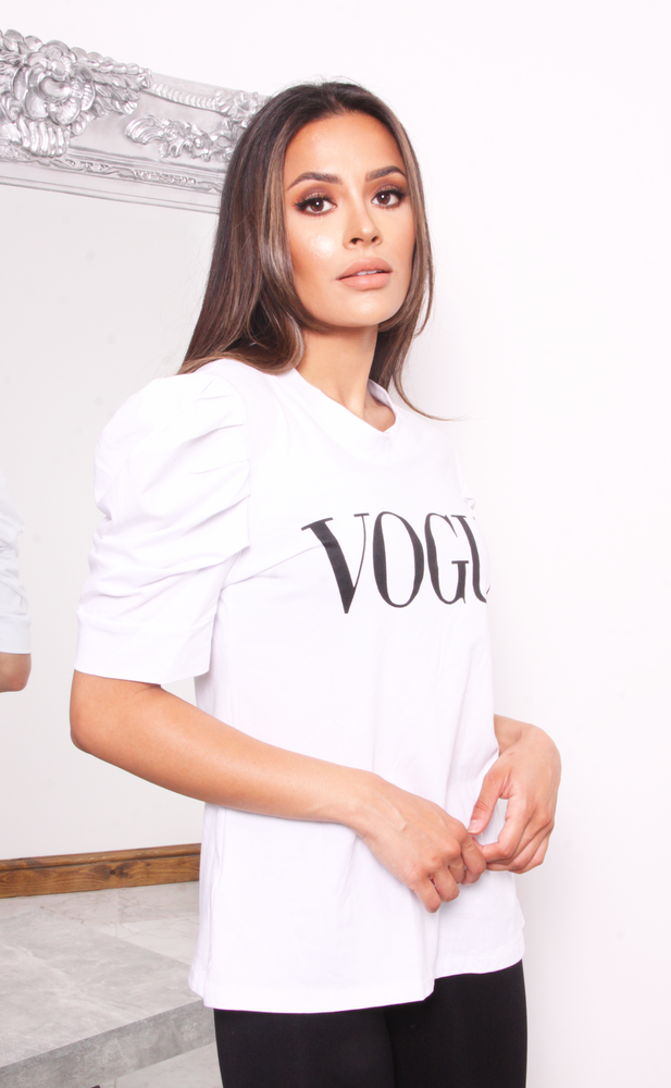 White Vogue Puff Sleeve T Shirt - Missfiga.com