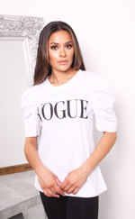 White Vogue Puff Sleeve T Shirt