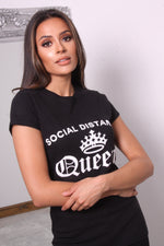 Black Social Distancing Queen Slogan T Shirt