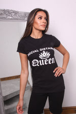 Black Social Distancing Queen Slogan T Shirt - Missfiga.com