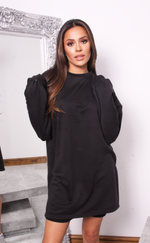 Black Oversized Jumper Dress - Missfiga.com