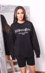 Oversized Black Ye Saint Love Sweatshirt - Missfiga.com