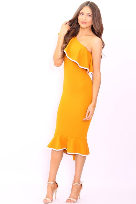 Ayla Mustard One Shoulder Frill Binded Bodycon Dress