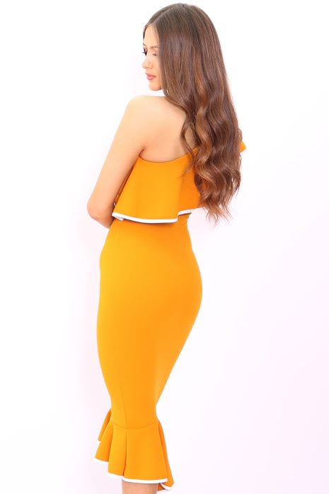 Ayla Mustard One Shoulder Frill Binded Bodycon Dress - Missfiga.com