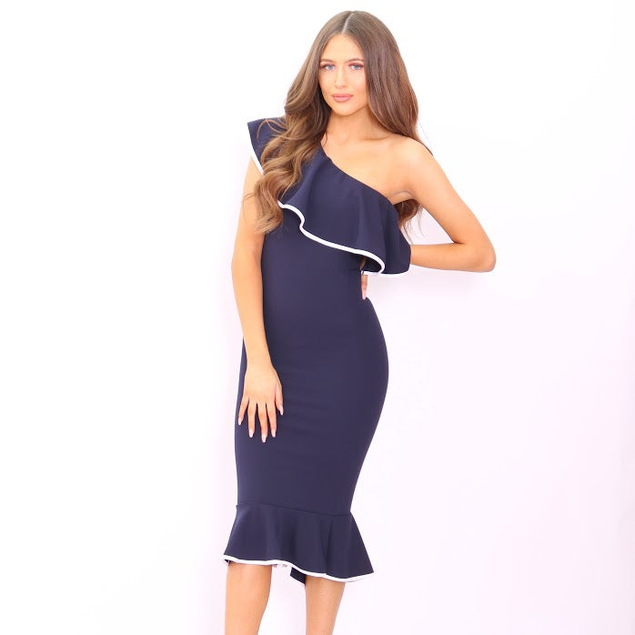 Ayla Navy One Shoulder Frill Binded Bodycon Dress