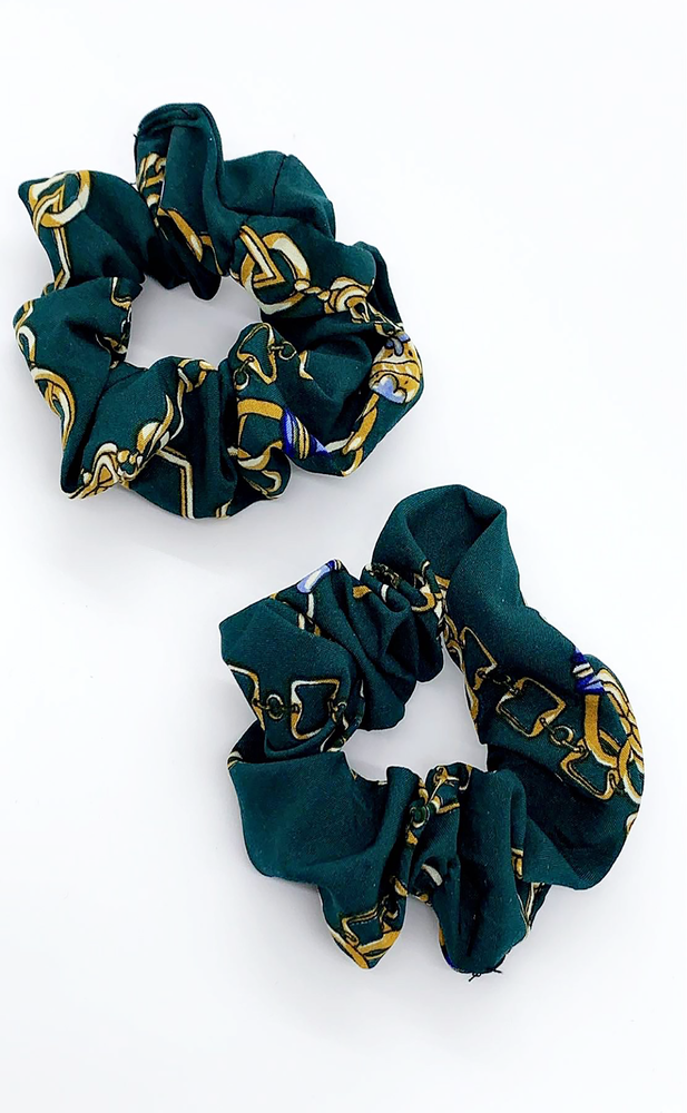 Bella Emerald Green Chain Print 2 Pack Scrunchies