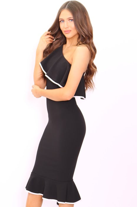 Ayla Black One Shoulder Frill Binded Bodycon Dress