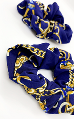 Nella Royal Blue Chain Print 2 Pack Scrunchies - Missfiga.com