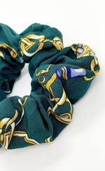 Bella Emerald Green Chain Print 2 Pack Scrunchies - Missfiga.com