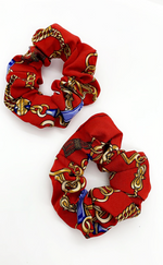 Ruby Red Chain Print 2 Pack Scrunchies