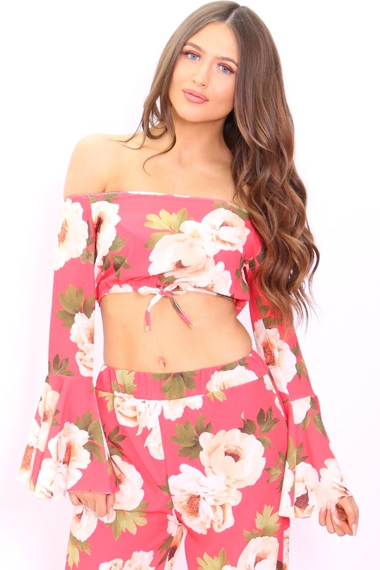 Tansey Red Floral Bardot Flute Sleeve Crop Top - Missfiga.com