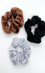 Sienna Satin Colours Assorted 3 Pack Scrunchies
