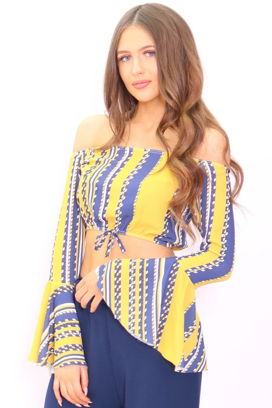 Maya Yellow Linear Bardot Flute Sleeve Crop Top
