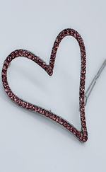 Pink Heart Shaped Diamante Clip - Missfiga.com