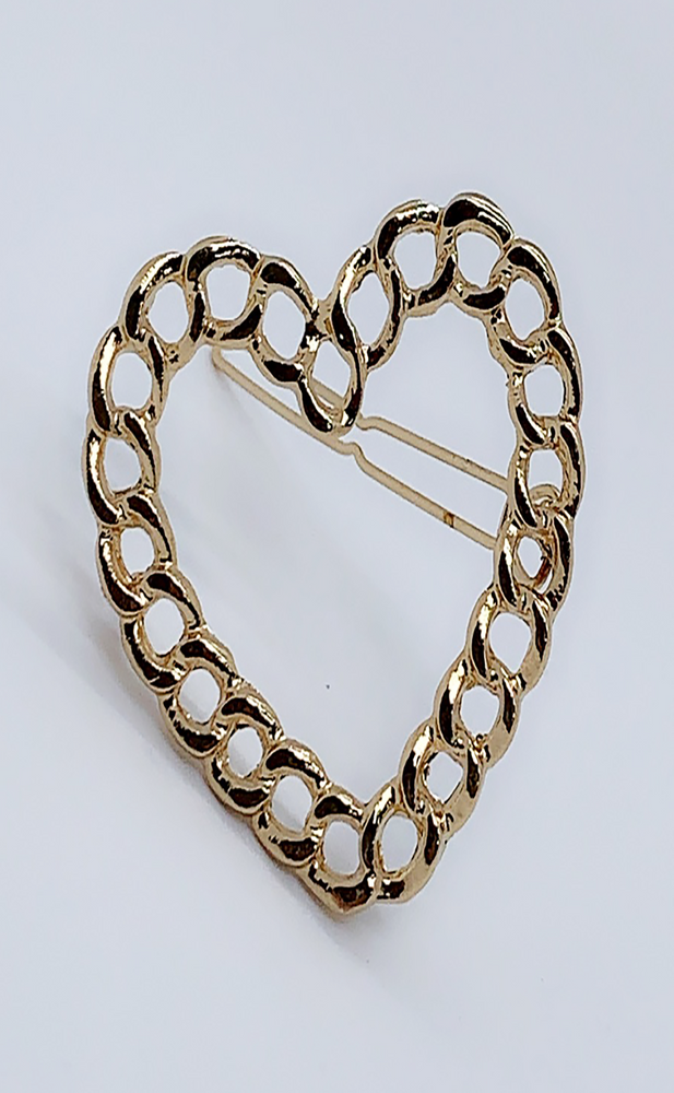 Tiana Gold Chain Heart Shape Hairclip - Missfiga.com
