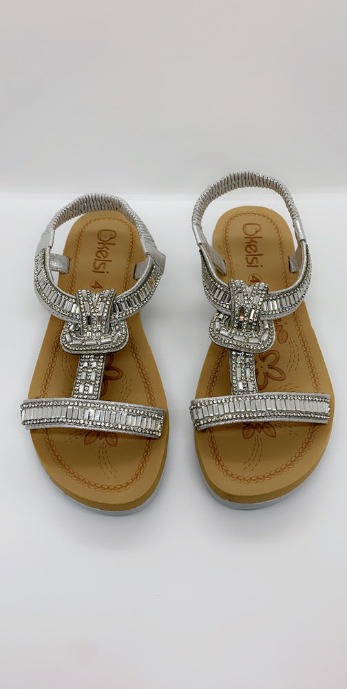 Silver Jewelled Strap Over Flat Sandals