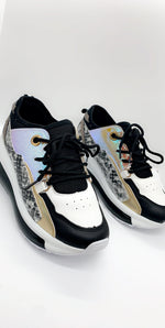 Black Metallic Snake Skin Colour Block Trainers - Missfiga.com