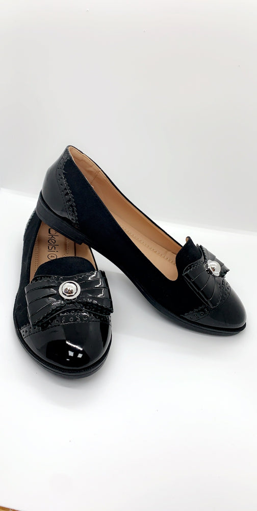 Black Bow Button Detail Flats - Missfiga.com