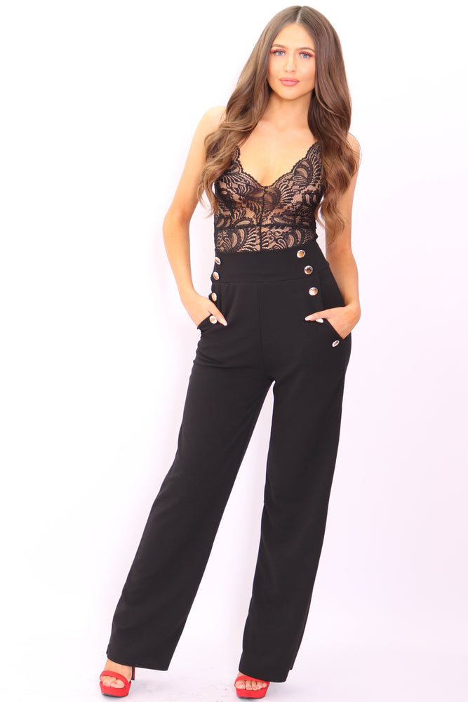 Maddie Black Button Flared Leg Trousers