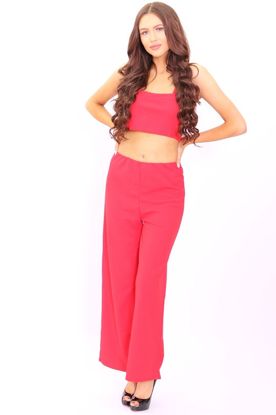 Meghan Red Crop Top Flared Trouser Co-Ord Set