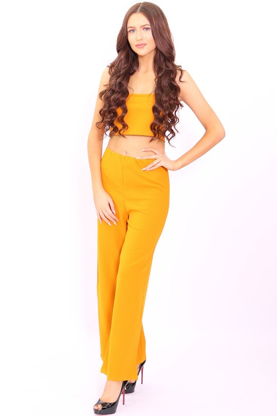 Meghan Mustard Crop Top Flared Trouser Co-Ord Set - Missfiga.com