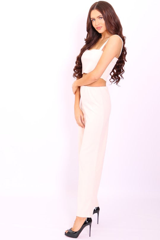 Meghan Nude Crop Top Flared Trouser Co-Ord Set - Missfiga.com