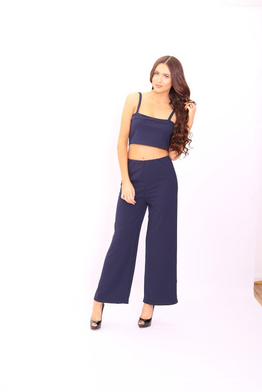 Meghan Navy Crop Top Flared Trouser Co-Ord Set