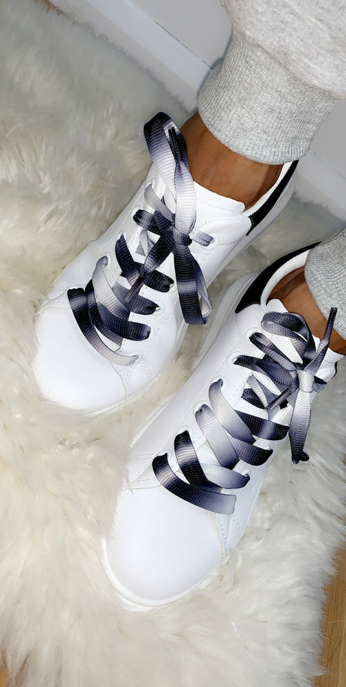 White/Black Low Trainer with Dip Dye