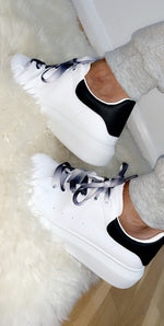 White/Black Low Trainer with Dip Dye Lace