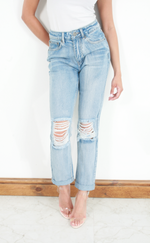 Ciara Light Blue Knee Ripped Detail Mom Jeans