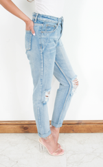 Ciara Light Blue Knee Ripped Detail Mom Jeans - Missfiga.com
