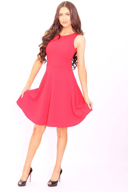 Ginny Red Flare Skater Dress