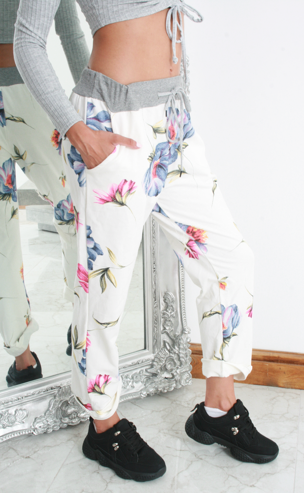 White Floral Print Contrast Band Joggers - Missfiga.com