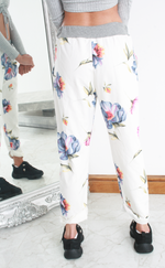 White Floral Print Contrast Band Joggers
