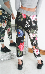 Black Floral Print Contrast Band Joggers