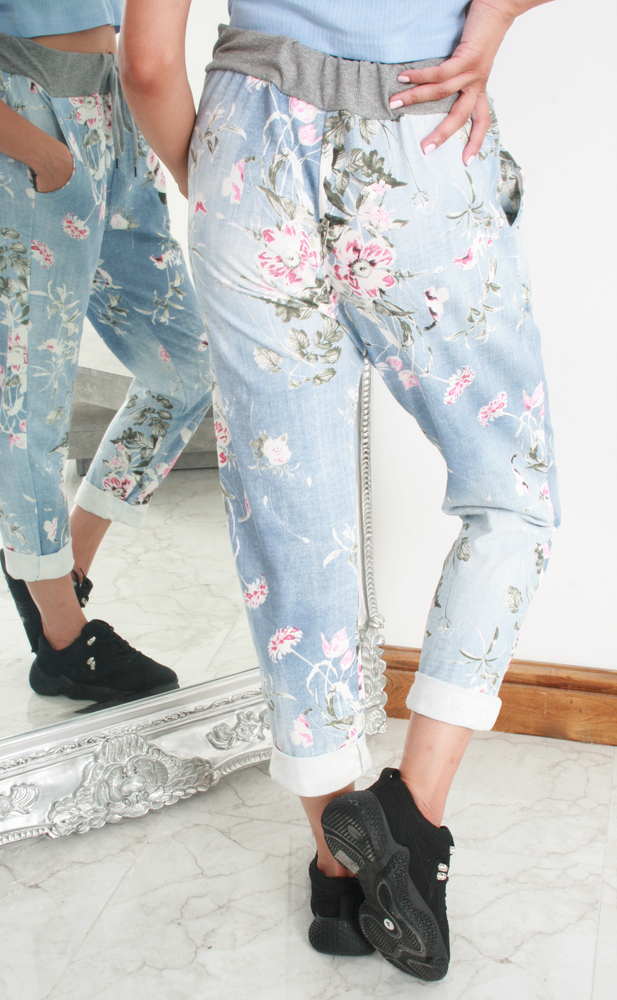 Denim Look Floral Pattern Contrast Band Joggers
