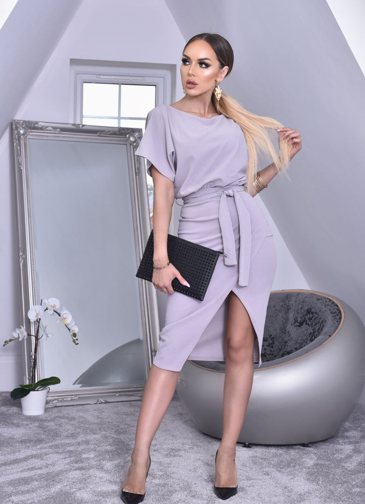 Judith Grey Wrap Front Batwing Dress - Missfiga.com