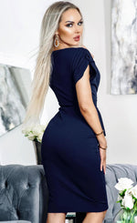 Keira Navy Side Frill Overlay Bodycon Dress - Missfiga.com