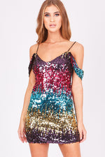 Karen Sequin Lace Up Off The Shoulder Mini Dress