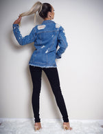 Laura Blue Rip Detail Denim Jacket - Missfiga.com