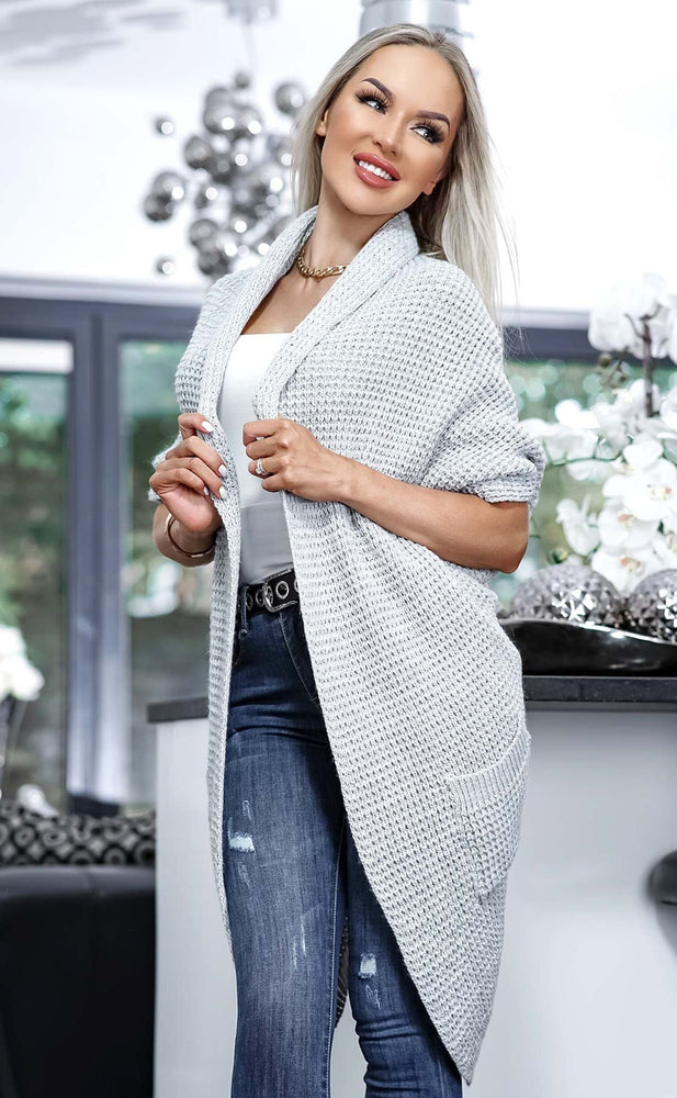 Lesley Grey Open Front Knitted Cardigan - Missfiga.com