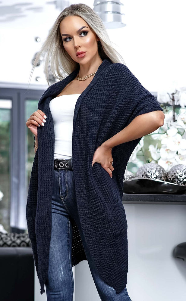 Lesley Navy Open Front Knitted Cardigan - Missfiga.com