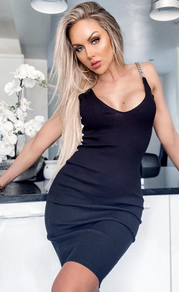 Liliana Black Chain Ribbed Bodycon Dress - Missfiga.com