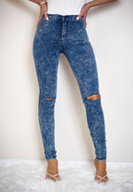 Lucy Acid Wash Ripped Knee Skinny Jeans