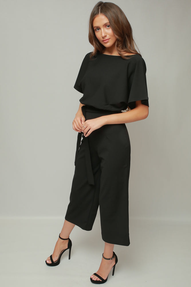 Black Jessica Batwing Belted Culotte Jumpsuit