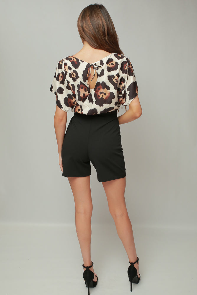 Siobhan Leopard Batwing Wrapped Front Playsuit