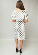 Maura White Polka Dot V Neck Judith Batwing Wrap Dress - Missfiga.com