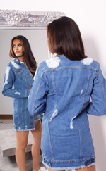 Distressed Duster Denim Jacket - Missfiga.com