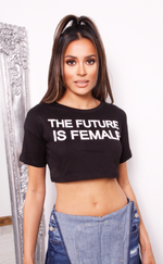 Black 'Female' Slogan Cropped T Shirt